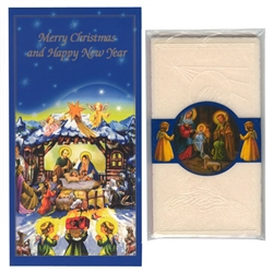 Christmas Card With 4 Oplatek Wafers