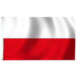 Poland Flag Without Eagle, With Grommets, Nylon, Size 3'x 5'