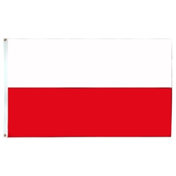 Poland Flag Without Eagle, With Grommets,  Nylon, Size 2'x 3'