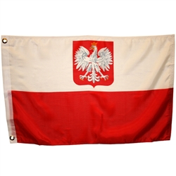 Poland Flag With Eagle, With Grommets, Nylon, Size 3'x 5'