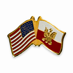 American and Polish Crossed Flag Lapel Pin with Eagle
