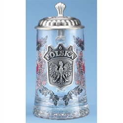 Heritage Glass Stein with Pewter Crest and Lid
