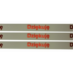 Ribbon: 'Dziekuje' (White with Metallic Red)