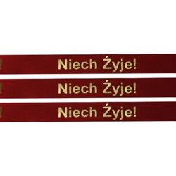 Ribbon: 'Niech Zyje!' (Red with Metallic Gold)