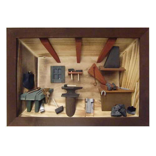 Kitchen Diorama Made Of Cereal Box: Polish Blacksmith's Workshop Shadow