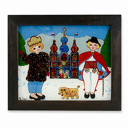 Dzieci z Szopka on Glass- Children Carrying A Szopka