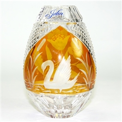 Polish Art Center Polish Crystal Amber Vase Quot Swan Lake Quot 6 Quot