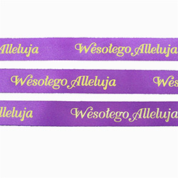 Ribbon: 'Wesolego Alleluja' (Purple with Metallic Gold)