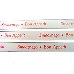 Ribbon: 'Smaznego - Bon Appetit' (White with Metallic Red)