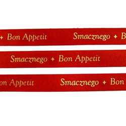 Ribbon: 'Smaznego - Bon Appetit' (Red with Gold Metallic)