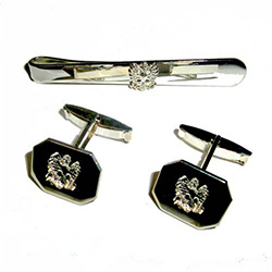 Men's Silver Plated Eagle Cuff Links and Tie Bar Set