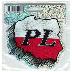 Map of Poland (Black/Red and White Metallic) PL Sticker