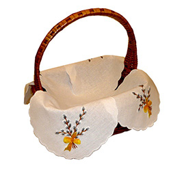 Four Corner Embroidered Easter Basket Cover - 15