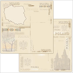Polish Scrapbook Paper - Map Collage Scrapbook 2 Page Layout Paper
