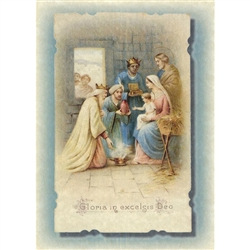 Christmas Greeting Card with Three Kings and Holy Family