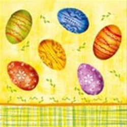 Polish Easter Luncheon Napkins (package of 20) - 'Decorated Eggs' - Yellow