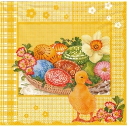Polish Easter Luncheon Napkins (package of 20) - 'Duckling and Pisanki' - Yellow