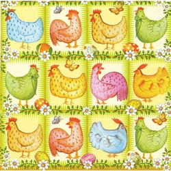 Polish Easter Luncheon Napkins (package of 20) - 'Chickens, Butterflies and Pisanki'