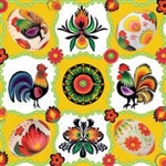 "Polish Folk Art Lunch Napkins (package of 20) - ""Wycinanki Pisanki"" - Paper Cut Eggs.  Three ply napkins with water based paints used in the printing process."