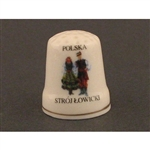This porcelain thimble has a dancing couple from Lowicz.  Beautiful collector's item.