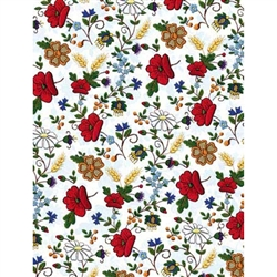 Polish Gift Wrapping Paper - Embroidered Flowers