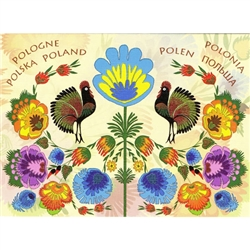 """Folk Roosters"" Lowicz Flowers Note Card And Envelope"