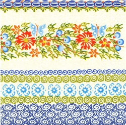 Polish Luncheon Napkins (package of 20) - 'Stoneware Design - Blueberries and Butterflies'
