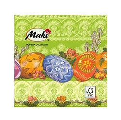 Cocktail Napkins - Polish Easter Pisanki - Green