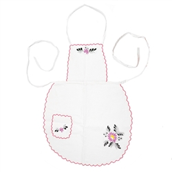 Kashubian Embroidered Floral Apron - Pink Trim