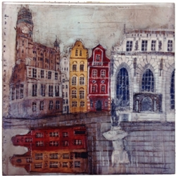 Artistic Ceramic Tile - Gdansk And Neptune's Fountain