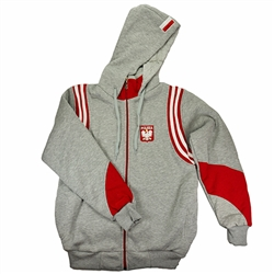 Polish Zip-Up Hooded Jacket - Polska Grey With Red And White
