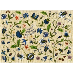 Polish Kashubian Flowers Note Card And Envelope