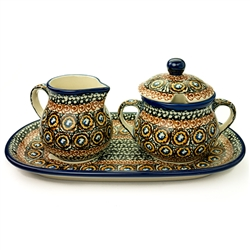 Unikat Polish Pottery Stoneware Sugar Bowl & Creamer Set - U143