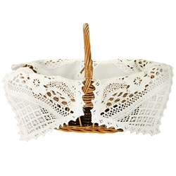 Four Corner White Lace Easter Basket Cover - 'Christ Has Risen'