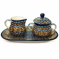 Unikat Polish Pottery Stoneware Sugar Bowl & Creamer Set - U159