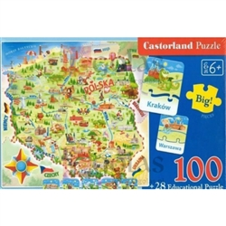 Castorland Map Of Poland Puzzle - 120 Pieces