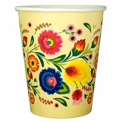 Polish Art Center Polish Hot Cold Paper Cups Wycinanki Pattern Set Of 8