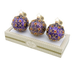 Christopher Radko Boxed Glass - Purple Set Of 3