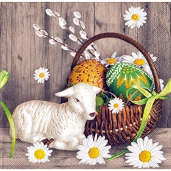 Polish Easter Luncheon Napkins (package of 20) - 'Basket With Lamb'