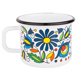 Enameled Mug In A Kashubian Folk Pattern