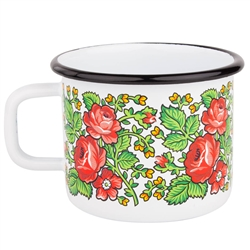 Enameled Mug In A Goralski Folk Pattern