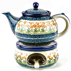 Polish Pottery Stoneware Teapot And Warmer Set - 40oz.