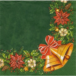 Cocktail Napkins - Christmas Bells And Holly
