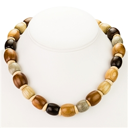 Polish Artistic Hazelnut Wood Necklace 16""