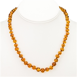 "17"" Honey Amber Beaded Necklace"