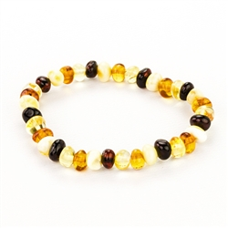 Multi-Colored Amber Stretch Bracelet