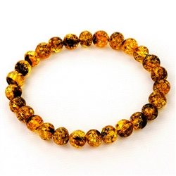 Cognac Colored Round Amber Stretch Bracelet
