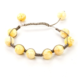 Custard Colored Amber Macrame Bracelet