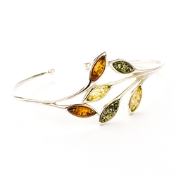 Silver And Leaf Shape Amber Cuff Bracelet