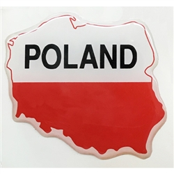 Map Of Poland On A Raised Dye Cut Pliable Sticker #3